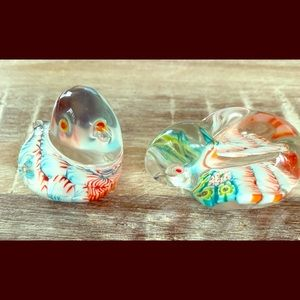 Antique  murano style Glass Bunny And Bird